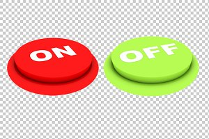 On Off Buttons - 3D Render PNG