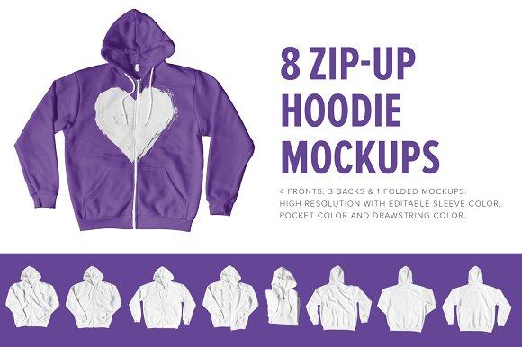 Free 8 Premium Zip-Up Hoodie Mockups