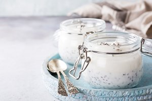 Chia pudding in glass jar.