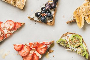 Healthy breakfast toast pieces