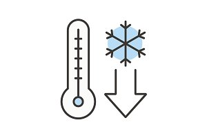Temperature falling icon. Vector