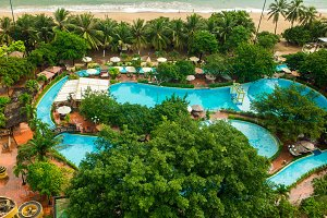 Beautiful view on the pool in the Central Park of Nha Trang city in Vietnam