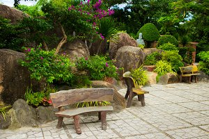 Decorative bench near garden