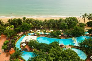 Beautiful view on the pool and sea in the Central Park of Nha Trang city in Vietnam