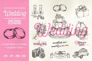 Hand drawn wedding illustrations