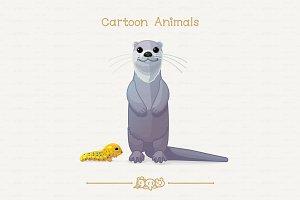 ♥ vector otter & papilio troilus