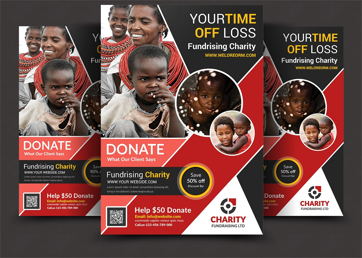 charity donation flyer flyer templates creative market. Black Bedroom Furniture Sets. Home Design Ideas