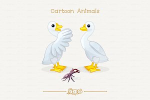 ♥ vector goose & stag beetle