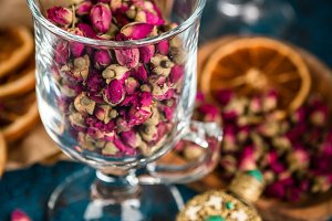 Dry tea rose buds