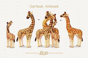 ♥ vector giraffes loving family