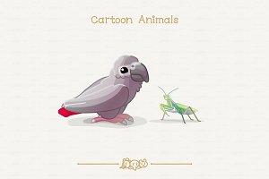 ♥ vector grey parrot & mantis