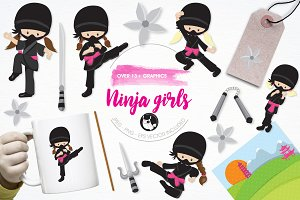 Ninja girls illustration pack