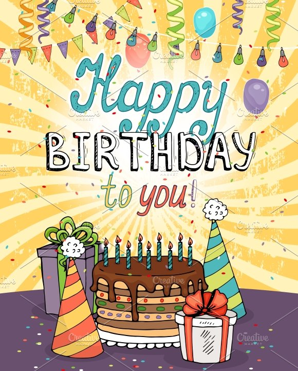 Happy birthday greeting card illustrations creative market m4hsunfo Images