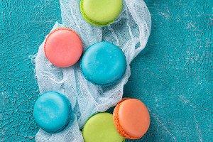 Cake macaron or macaroon, colorful almond cookies.