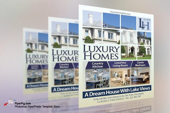 Luxury Homes Real Estate Flyer Flyer Templates Creative Market