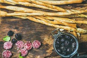 Italian Grissini bread sticks heap