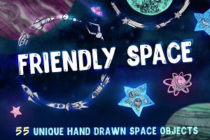Friendly Space illustrations set