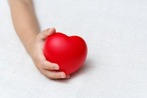 heart in baby hands