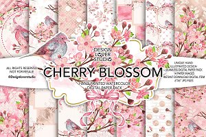 Watercolor Cherry Blossom DP pack