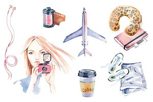 Watercolor travel clipart set