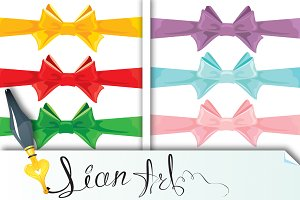 Set of different colors bows isolate
