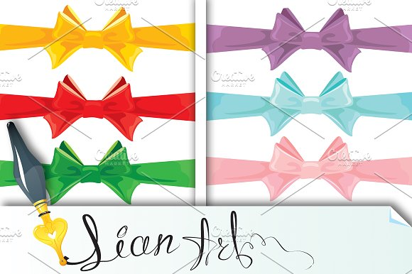 Set of different colors bows isolate in Objects