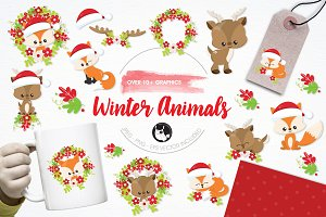 Winter animals illustration pack
