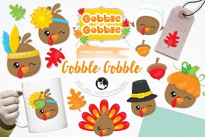 Gobble gobble illustration pack