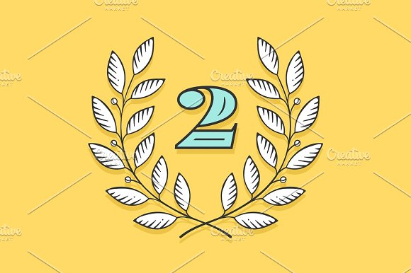 Laurel wreath icon with number Two