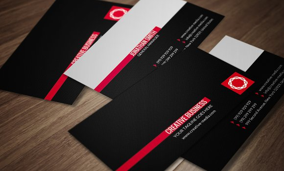 Red Black Business Card Cm025 Business Card Templates Creative