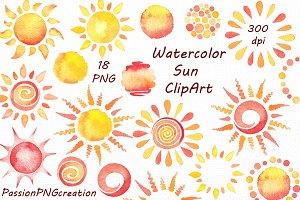 Watercolor Sun Clipart