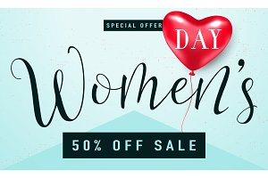 Vector illustration of stylish 8 march womens day sale background