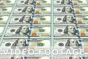 New 100 dollar bills in 3d perspective. Looped.
