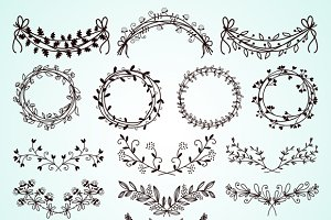 hand-drawn floral borders and wreath