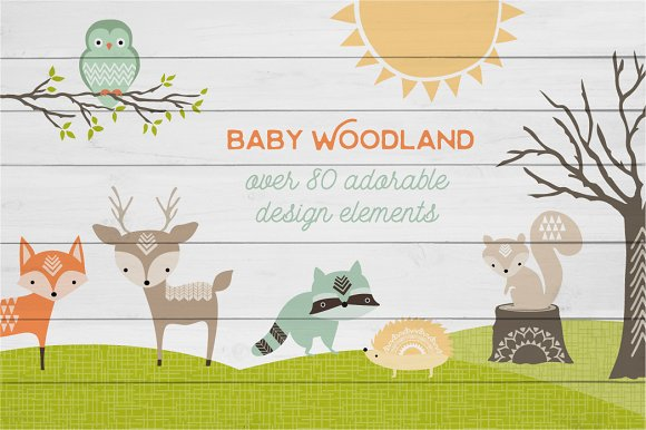Cute Baby Woodland Graphics in Illustrations