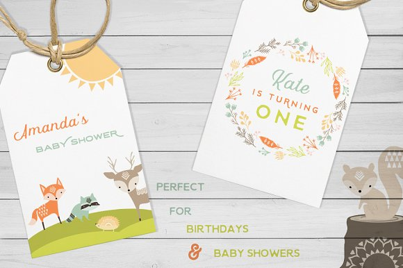 Cute Baby Woodland Graphics in Illustrations - product preview 4