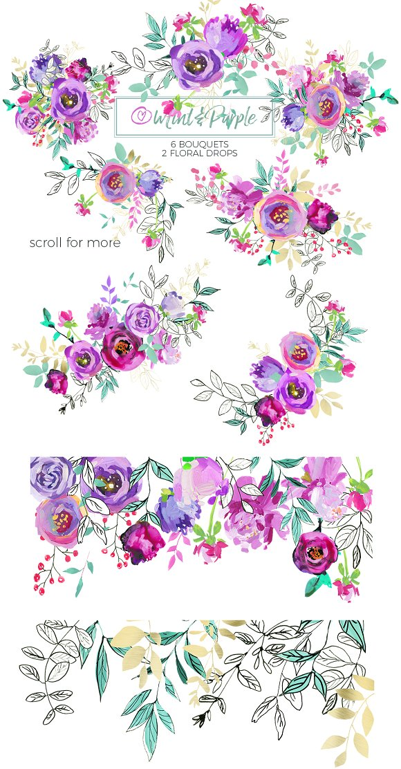 Mint And Purple Watercolor Flowers Illustrations Creative Market