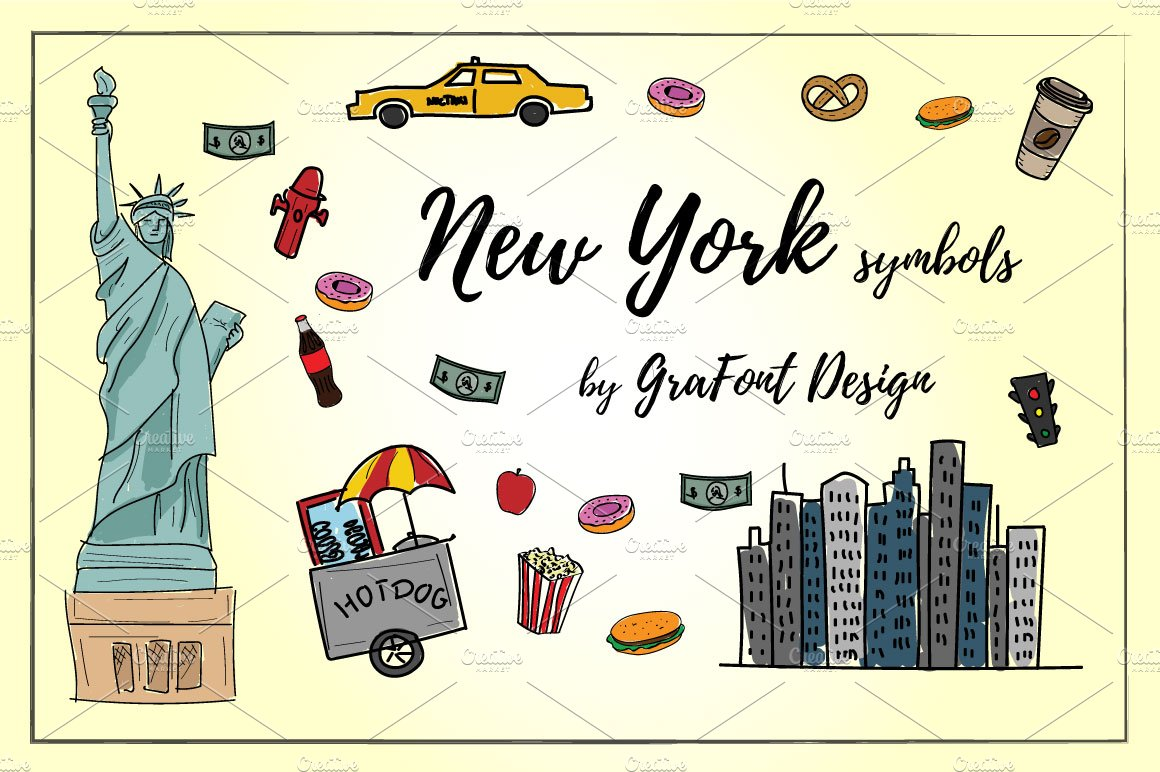 New york elements illustrations creative market new york symbols buycottarizona Image collections
