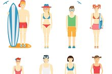 kids in summer clothing and swimsuit