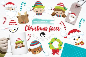 Christmas faces illustration pack