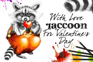 Raccoon with heart