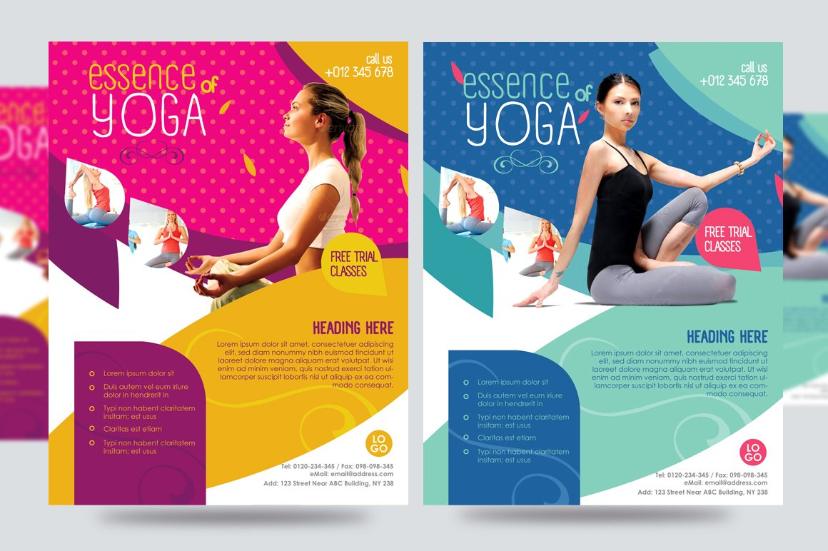 Yoga flyer fitness flyer v1 flyer templates creative for Yoga brochure templates