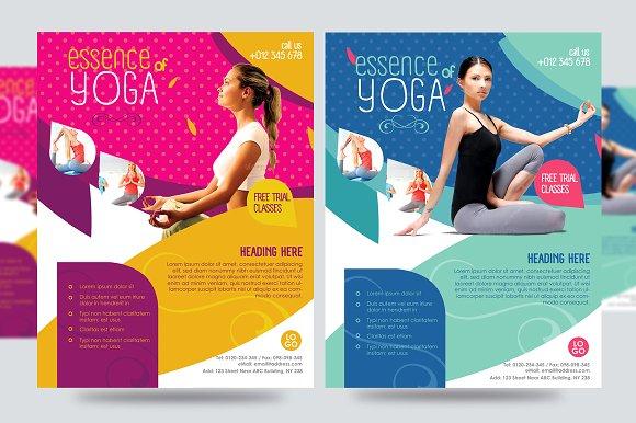 yoga flyer fitness flyer v1 flyer templates creative market. Black Bedroom Furniture Sets. Home Design Ideas
