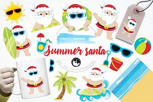 Summer santa illustration pack