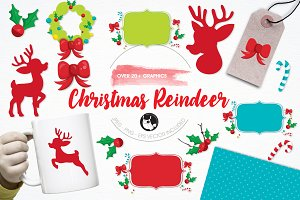 Christmas reindeer illustration pack