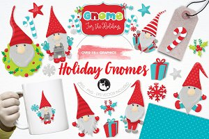 Holiday gnomes illustration pack