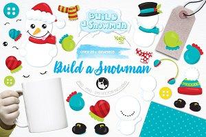 Build a snowman illustration pack