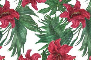 Tropical lilies pattern and elements