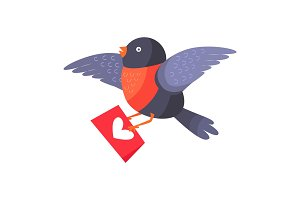 Bullfinch Bird with Red Chest Hold Love Envelope