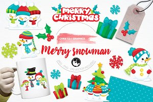 Merry snowman illustration pack